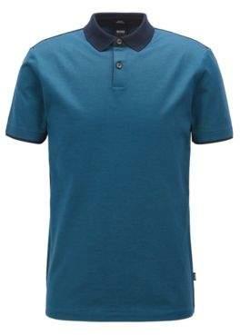 BOSS Hugo Slim-fit polo shirt in mercerized cotton M Open Blue