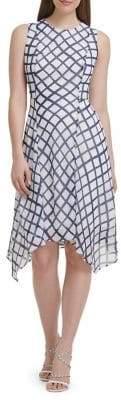 DKNY Crewneck Handkerchief Hem Midi Dress