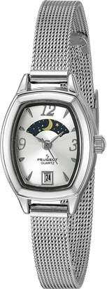 Peugeot Women's 'Slim Mesh Decorative Sun Moon Phase Face Vintage Dress' Quartz Stainless Steel Dress Watch (Model: 712S)