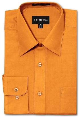 G-Style USA Men's Regular Fit Long Sleeve Solid Color Dress Shirts - X-Large - 32-33
