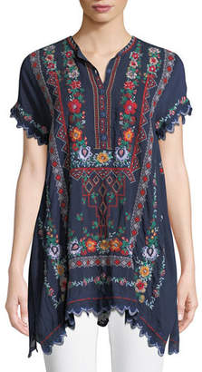 f24d579dd86 Johnny Was Plus Size Liesse Short-Sleeve Embroidered Georgette Easy Tunic