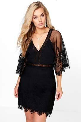 boohoo Plus Boutique Crochet Wide Sleeve Dress