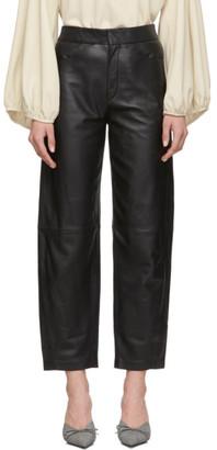Totême Black Leather Novara Trousers
