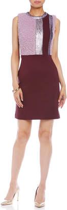 Paola Frani (パオラ フラーニ) - PAOLA FRANI ボア切替 配色ライン ノースリーブドレス プラムxピンクベージュ 42