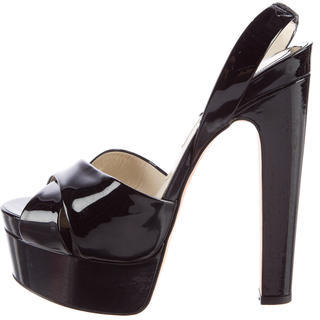 Brian Atwood Patent Cassandra Sandals $245 thestylecure.com