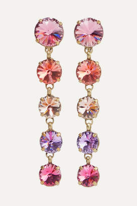 Swarovski Roxanne Assoulin - Drip Drop Gold-tone Crystal Clip Earrings - Pink