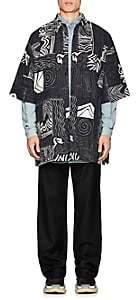 Balenciaga Men's Abstract-Print Short-Sleeve Shirt Jacket - Navy