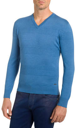 Stefano Ricci Men's Cashmere Ribbed-Stripes V-Neck Sweater