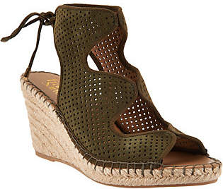 Franco Sarto Perforated Suede Espadrille Wedges- Nash