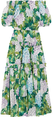 Dolce & Gabbana - Off-the-shoulder Floral-print Cotton-poplin Midi Dress - Green $2,195 thestylecure.com