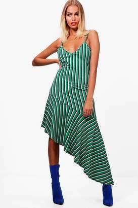 boohoo Stripe Asymmetric Frill Hem Midi Dress