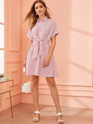 Shein Collared Tie Front Striped Shirt Dress