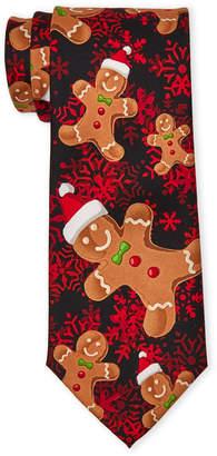Knotty & Nice Black Gingerbread Man Christmas Tie