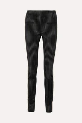 Haider Ackermann Grosgrain-trimmed Pinstriped Cotton-blend Skinny Pants - Black