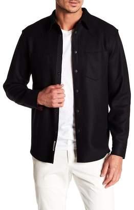 Rag & Bone Raw Edge Wool Blend Long Sleeve Slim Fit Shirt