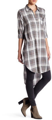 En Creme Plaid Hi-Lo Button Up Shirt Dress $52 thestylecure.com