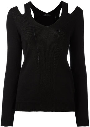 Diesel cut-off shoulder knitted blouse $143.27 thestylecure.com