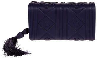 La Regale Faux Leather Diamond Pattern Box Clutch with Tassel