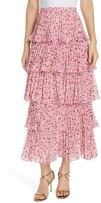 AMUR Paisley Floral Print Maxi Skirt