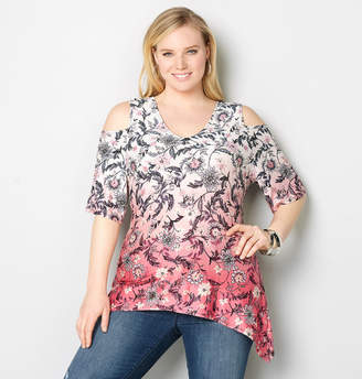 Avenue Ombre Floral Cold Shoulder Sharkbite Top