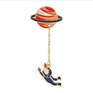 NextStone Fashion cute creative brooches chain planet corsage brooches collar pins badge astronauts cartoon brooch