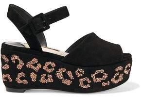 Sophia Webster Suki Crystal-Embellished Suede Platform Sandals