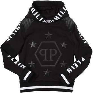Faux Leather & Cotton Sweatshirt Hoodie