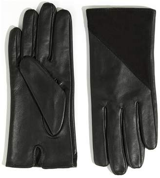 Warehouse Leather And Suede Zipped Gloves - Black