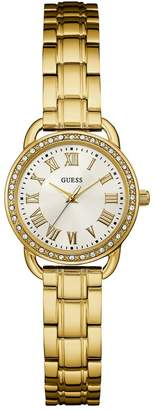 GUESS Women's -Tone Petite Sparkle Watch