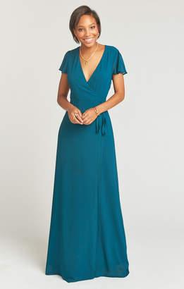 Show Me Your Mumu Noelle Wrap Dress ~ Deep Jade Chiffon