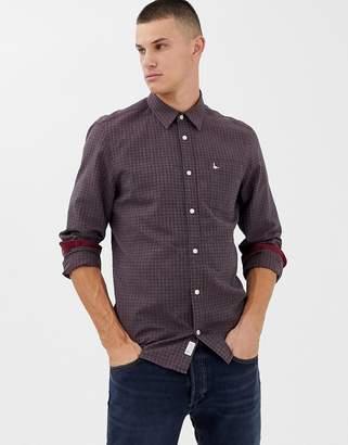 Jack Wills Wembury flannel gingham shirt in burgundy