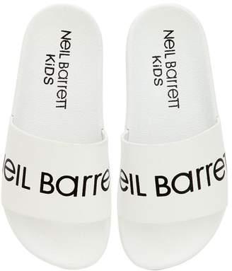 Neil Barrett Logo Print Rubber Slide Sandals