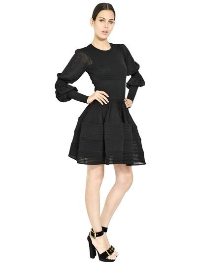Alexander McQueen Gauze Effect Silk Knit Dress