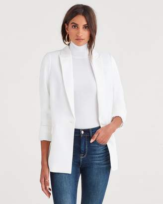 7 For All Mankind Boyfriend Blazer in Soft White