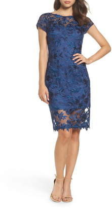 La Femme Illusion Detail Lace Sheath Dress