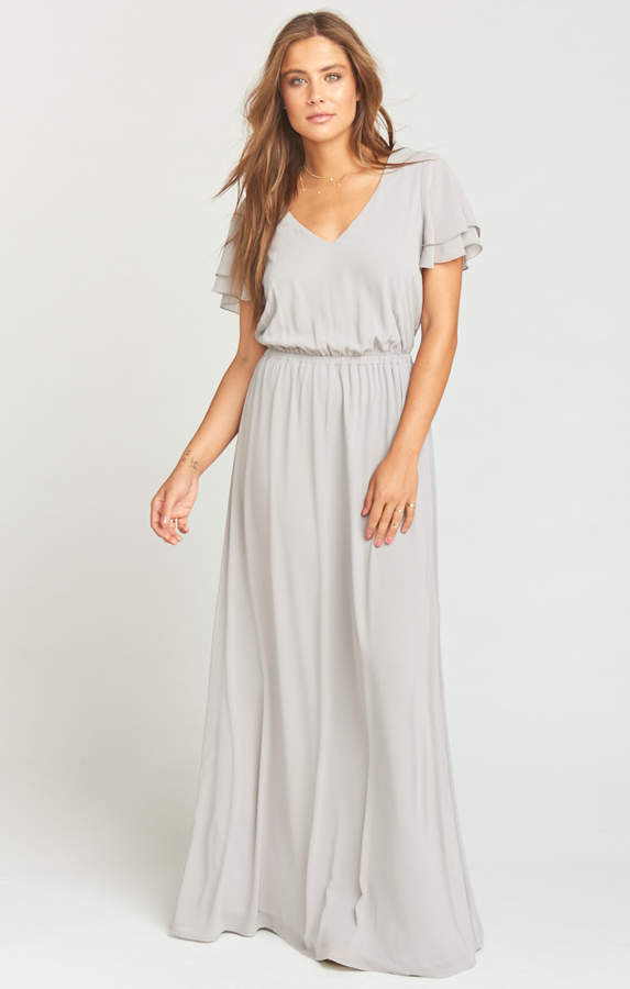 Show Me Your Mumu Michelle Maxi Dress ~ Dove Grey Chiffon