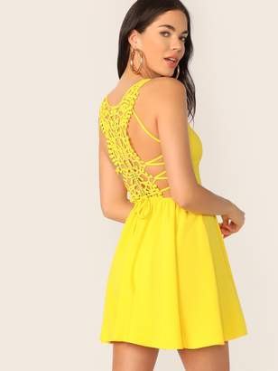 Shein Neon Yellow Lace Up Guipure Lace Back Cami Sundress