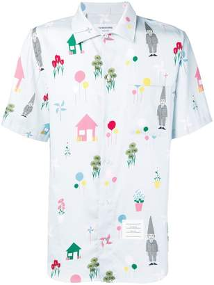 Thom Browne Gnome Print Polo Collar Shirt