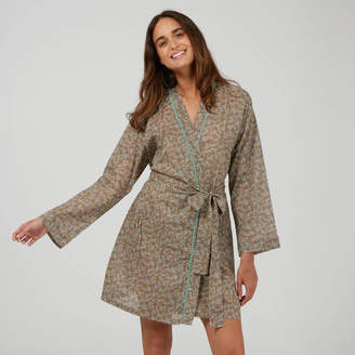 1d2bb4940fe Caro London Short Cotton Robe In Taupe Ditzy Print