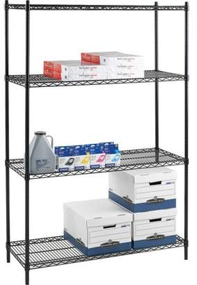 Lorell Industrial Adjustable Wire Shelving Starter Unit, Black