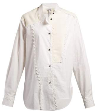 Loewe Lace Trimmed Asymmetric Shirt - Womens - White