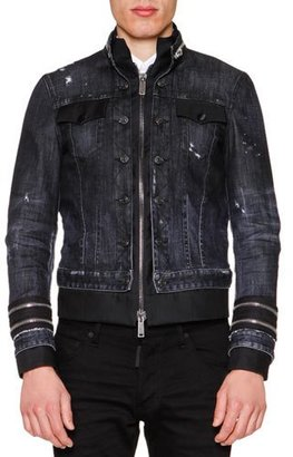 Dsquared2 Zipper-Trim Stretch Denim Jacket, Black $1,995 thestylecure.com