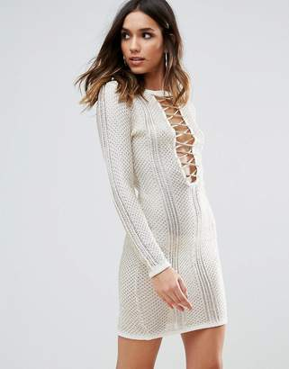Wow Couture Metallic Crochet Dress With Lace Up Detail