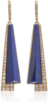 Fratelli Piccini Tetti Di Firenze 18K Lapis And Diamond Earrings