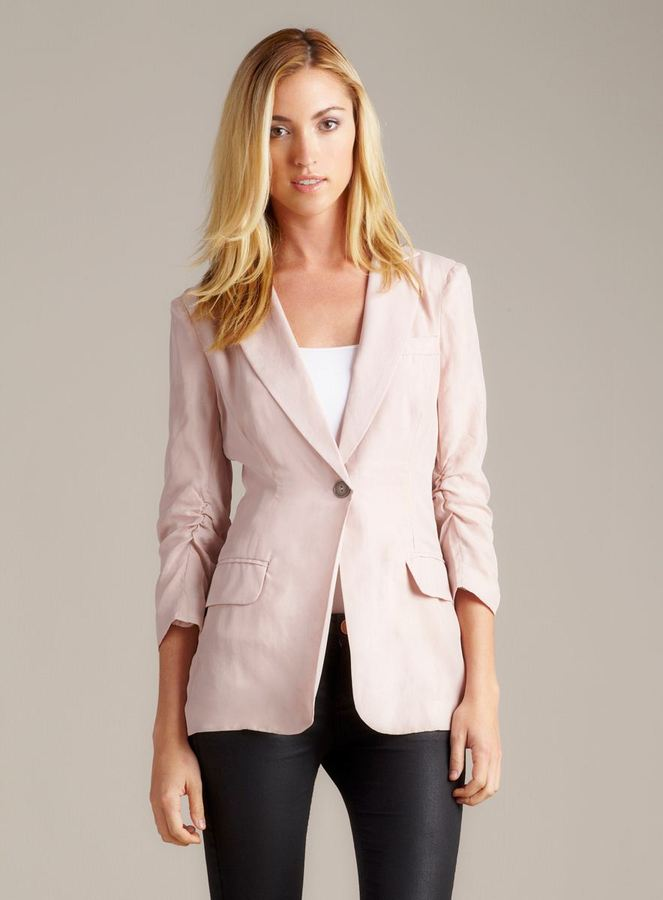 Willow & Clay Elbow Slv 1 Btn Silk Blazer