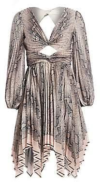 Zimmermann Women's Corsage Python Print Pleated Dress