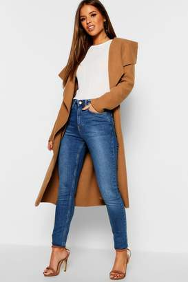 boohoo Petite Waterfall Wool Look Duster