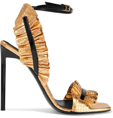 Saint Laurent - Edie Ruffled Metallic Snake-effect Leather Sandals - Gold