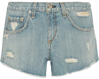 rag & bone - Boyfriend Studded Distressed Denim Shorts - Light denim $225 thestylecure.com
