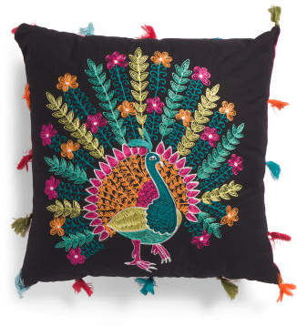 Made In India 20x20 Peacock Pillow